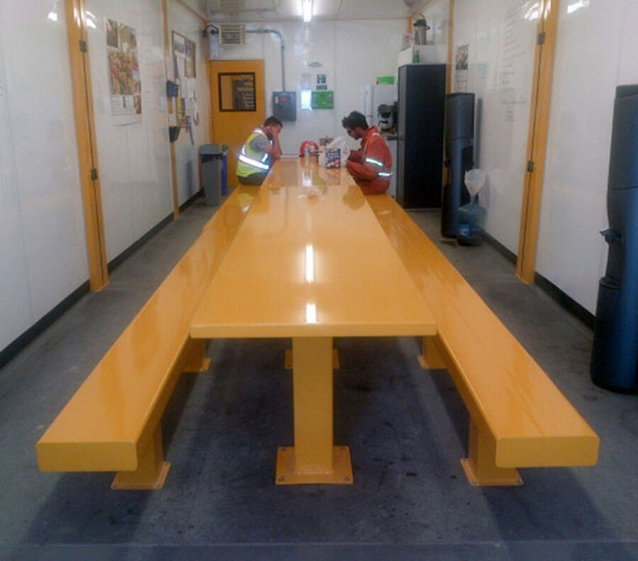 Heavy-duty benches and tables can be integrated.