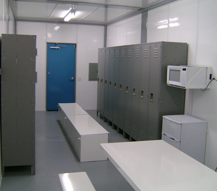 Locker rooms can be fitted with benches and counters to maximize efficiency on smaller sites.