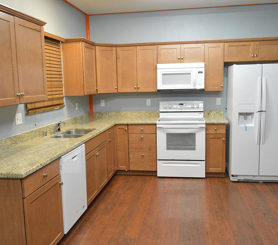 Shared kitchen facilities can include appliances and cupboard space.