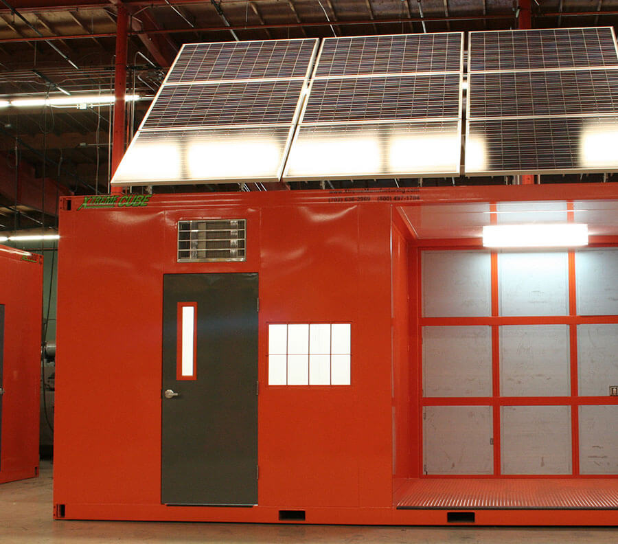 Solar panels can be fitted to Xtreme Cubes, minimizing reliance on exiting power to the site.