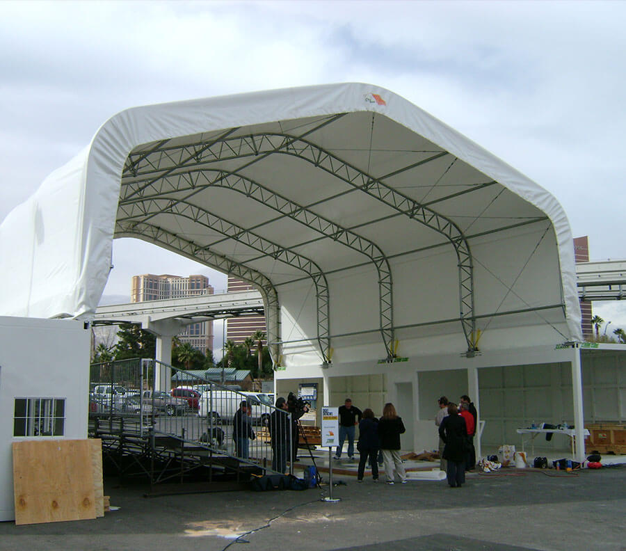 Xtreme Cubes provide the perfect base for temporary tent roof structures for outdoor events.