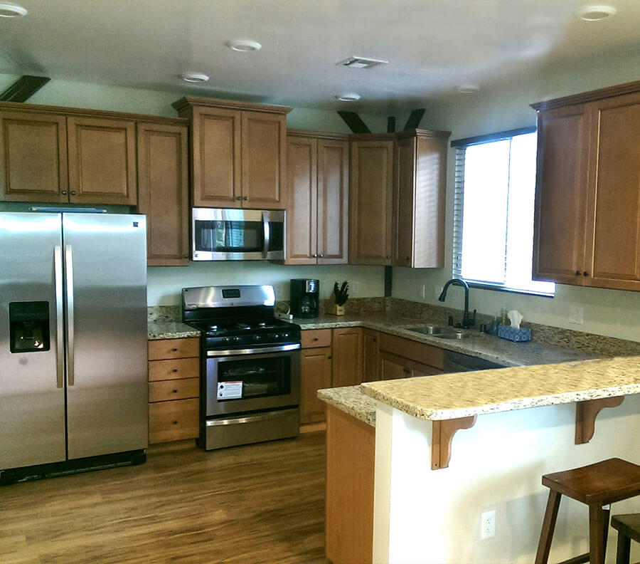 Fully equipped kitchens include appliances, plumbing and granite counter tops.